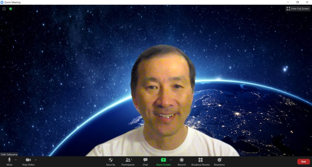 Screenshot of Zoom virtual background - Earth from space