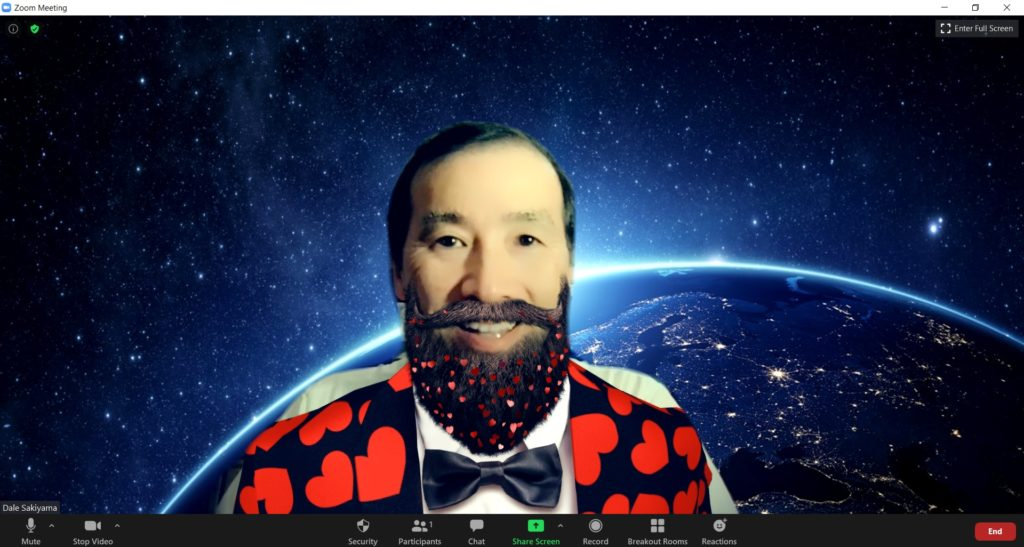 screenshot of Zoom virtual background and Snap Camera filter